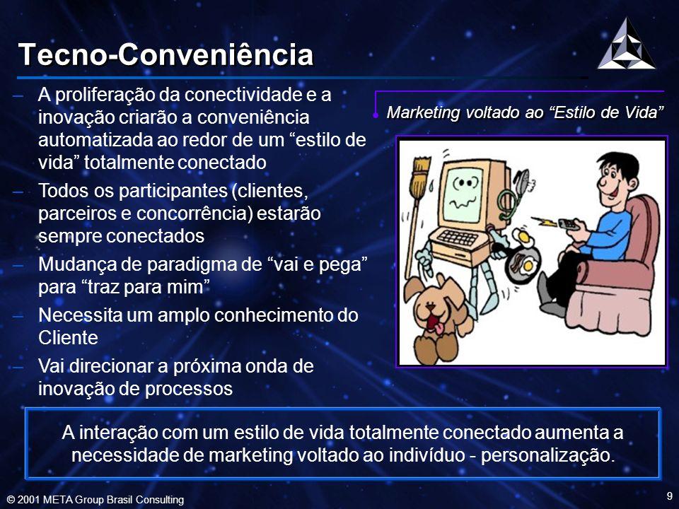 © 2001 META Group Brasil Consulting 10 Força de Trabalho Virtual –Indivíduos (agentes independentes) trabalham em qualquer ambiente, em qualquer lugar, a qualquer momento –Necessita uma ampla base de talentos para conduzir negócios onipresentes –Necessita aumentar a adaptabilidade e acesso a novos mercados –Mudanças de aspectos demográficos e de governança –Não reduz a necessidade de capital humano de qualidade Empregados Virtuais Um novo modelo de força de trabalho, baseada em indivíduos (agentes independentes), trabalhando fora dos escritórios, emergirá nas empresas.