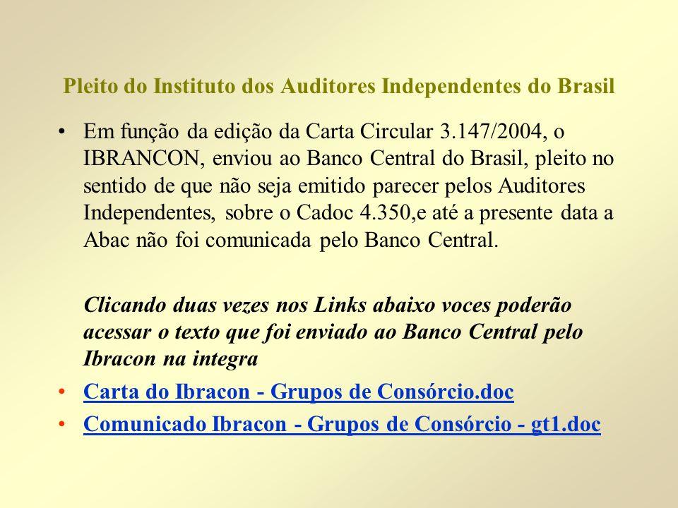 Pleito do Instituto dos Auditores Independentes do Brasil Em função da edição da Carta Circular 3.147/2004, o IBRANCON, enviou ao Banco Central do Bra