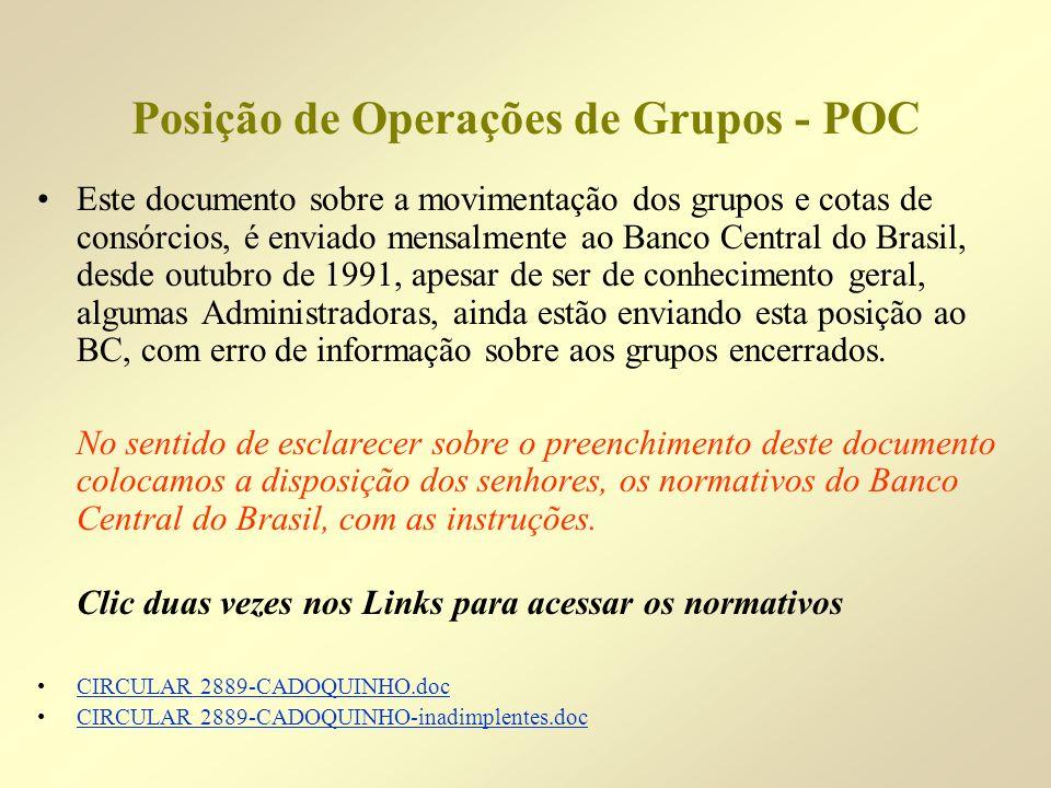 Posição de Operações de Grupos - POC Este documento sobre a movimentação dos grupos e cotas de consórcios, é enviado mensalmente ao Banco Central do B