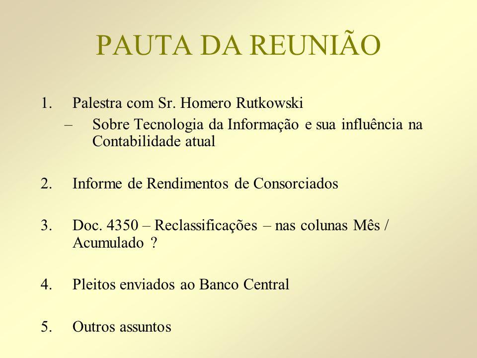 PAUTA DA REUNIÃO 1.Palestra com Sr. Homero Rutkowski –Sobre Tecnologia da Informação e sua influência na Contabilidade atual 2.Informe de Rendimentos