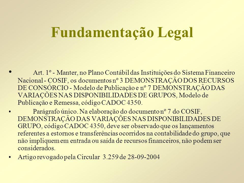 Fundamentação Legal Art. 1º - Manter, no Plano Contábil das Instituições do Sistema Financeiro Nacional - COSIF, os documentos nº 3 DEMONSTRAÇÃO DOS R