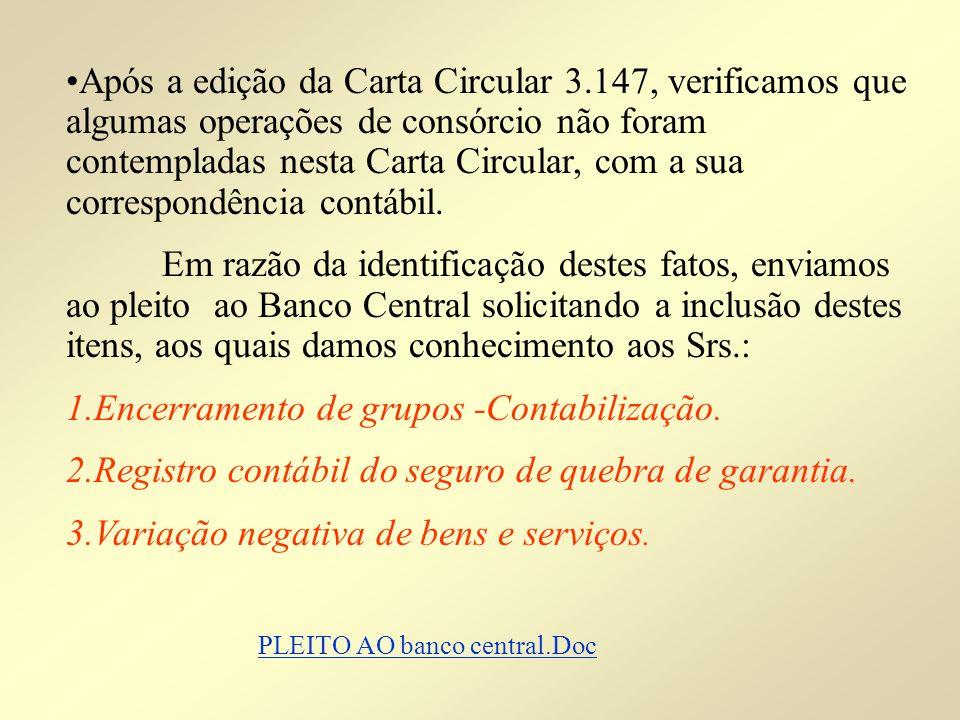 Após a edição da Carta Circular 3.147, verificamos que algumas operações de consórcio não foram contempladas nesta Carta Circular, com a sua correspon