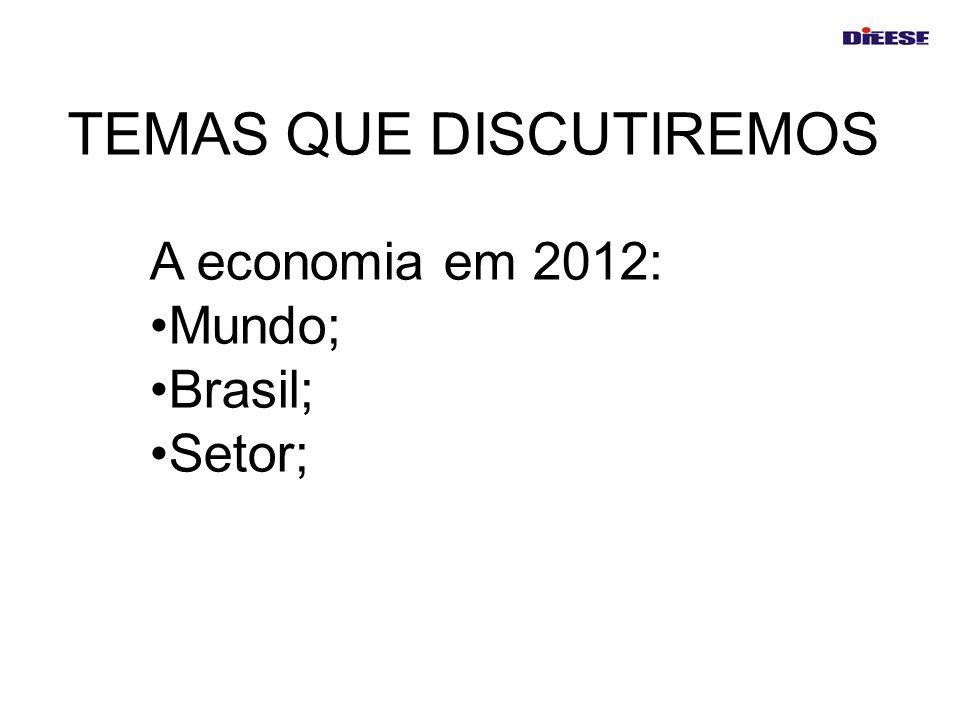 TEMAS QUE DISCUTIREMOS A economia em 2012: Mundo; Brasil; Setor;