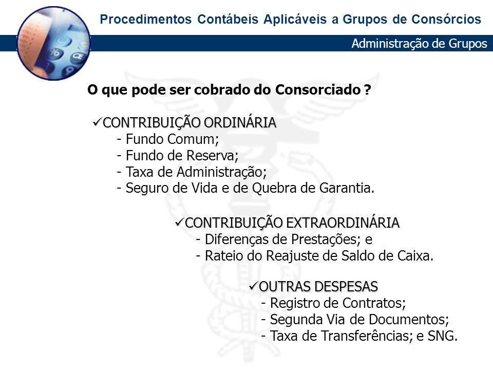 Procedimentos Contábeis Aplicáveis a Grupos de Consórcios CONTRIBUIÇÃO ORDINÁRIA CONTRIBUIÇÃO ORDINÁRIA - Fundo Comum; - Fundo de Reserva; - Taxa de A