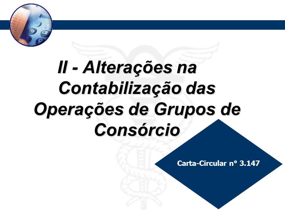 Procedimentos Contábeis Aplicáveis a Grupos de Consórcios II - Alterações na Contabilização das Operações de Grupos de Consórcio Carta-Circular n° 3.1