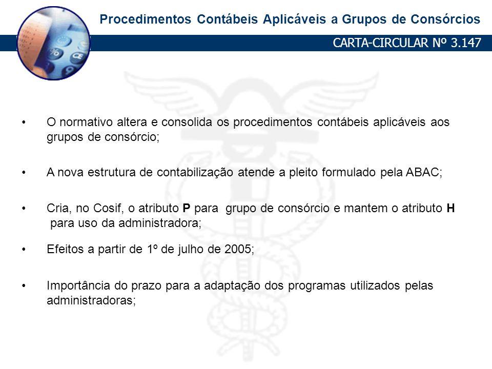 Procedimentos Contábeis Aplicáveis a Grupos de Consórcios CARTA-CIRCULAR Nº 3.147 O normativo altera e consolida os procedimentos contábeis aplicáveis