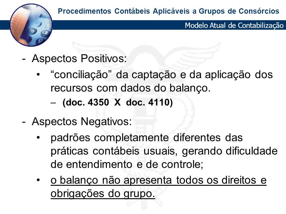 Procedimentos Contábeis Aplicáveis a Grupos de Consórcios - Aspectos Positivos: conciliação da captação e da aplicação dos recursos com dados do balan