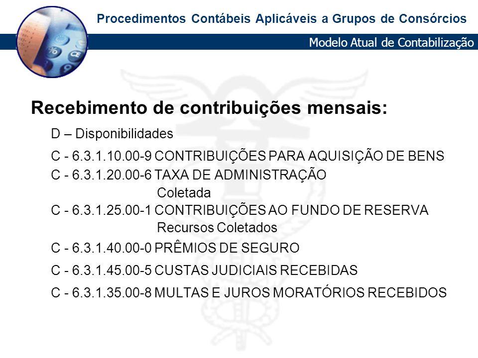 Procedimentos Contábeis Aplicáveis a Grupos de Consórcios Recebimento de contribuições mensais: D – Disponibilidades C - 6.3.1.10.00-9 CONTRIBUIÇÕES P