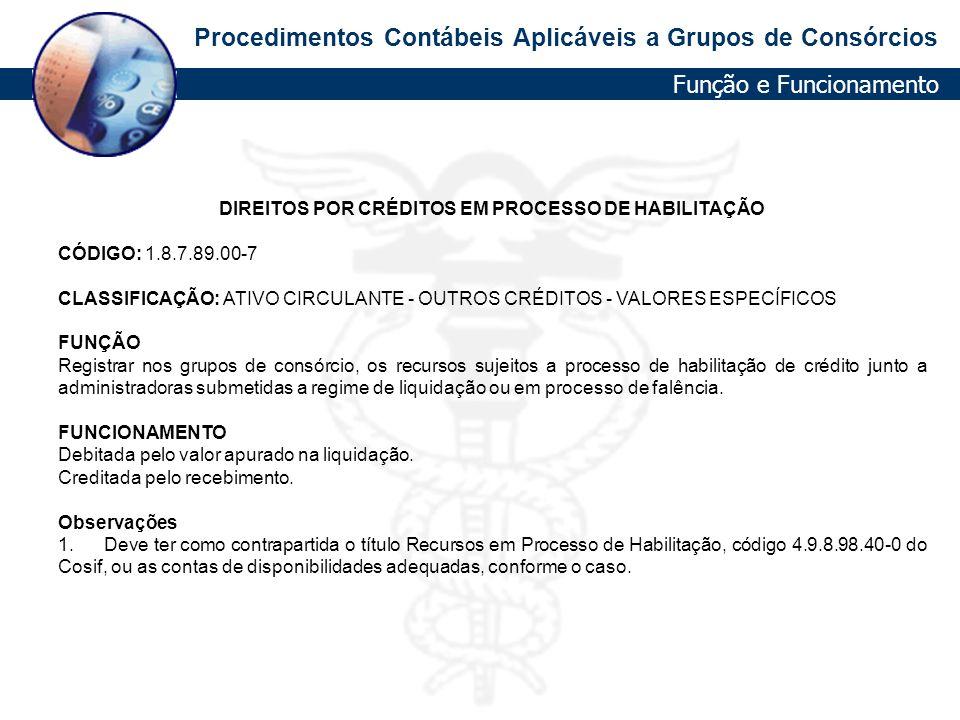 Procedimentos Contábeis Aplicáveis a Grupos de Consórcios DIREITOS POR CRÉDITOS EM PROCESSO DE HABILITAÇÃO CÓDIGO: 1.8.7.89.00-7 CLASSIFICAÇÃO: ATIVO