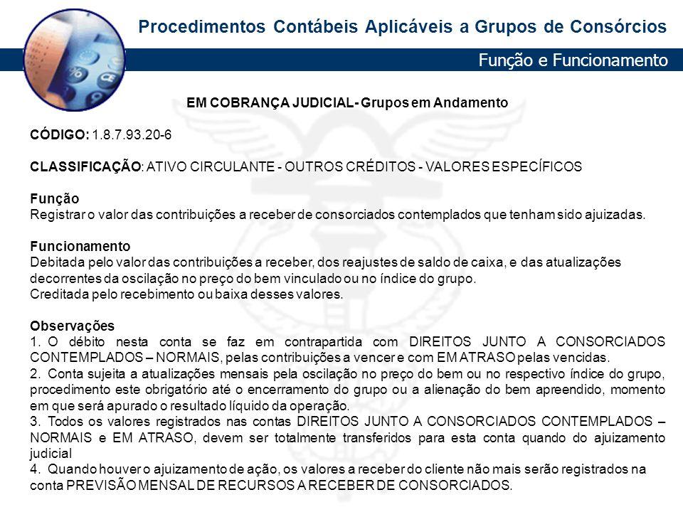 Procedimentos Contábeis Aplicáveis a Grupos de Consórcios EM COBRANÇA JUDICIAL- Grupos em Andamento CÓDIGO: 1.8.7.93.20-6 CLASSIFICAÇÃO: ATIVO CIRCULA