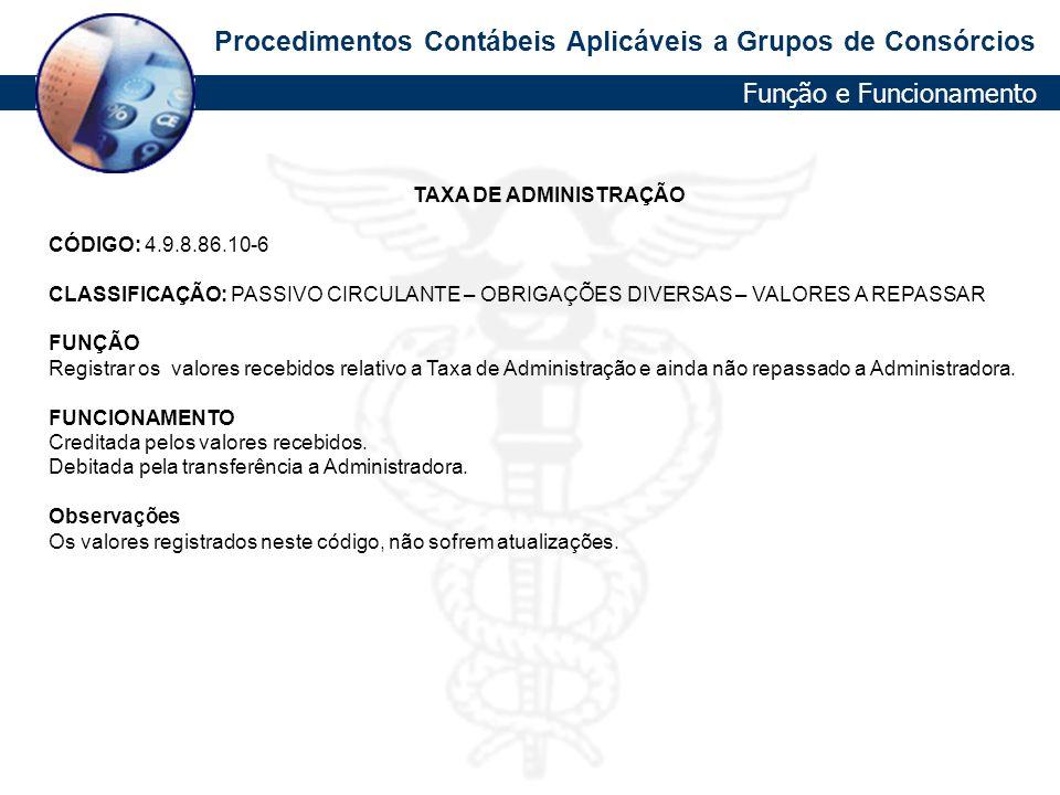 Procedimentos Contábeis Aplicáveis a Grupos de Consórcios TAXA DE ADMINISTRAÇÃO CÓDIGO: 4.9.8.86.10-6 CLASSIFICAÇÃO: PASSIVO CIRCULANTE – OBRIGAÇÕES D