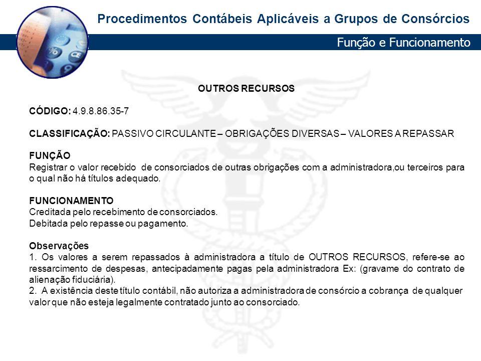 Procedimentos Contábeis Aplicáveis a Grupos de Consórcios OUTROS RECURSOS CÓDIGO: 4.9.8.86.35-7 CLASSIFICAÇÃO: PASSIVO CIRCULANTE – OBRIGAÇÕES DIVERSA