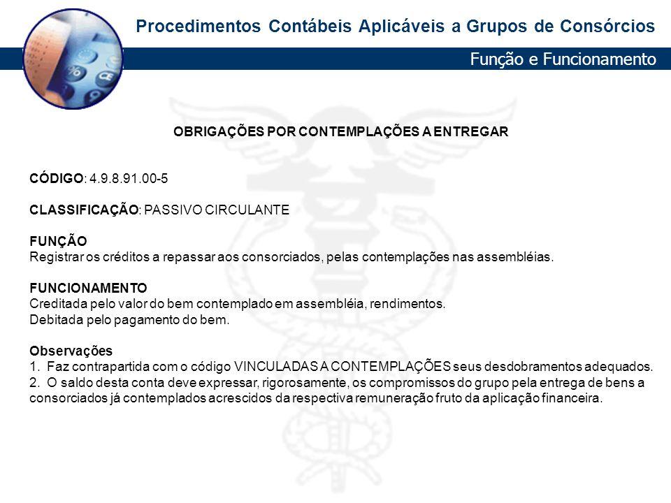 Procedimentos Contábeis Aplicáveis a Grupos de Consórcios OBRIGAÇÕES POR CONTEMPLAÇÕES A ENTREGAR CÓDIGO: 4.9.8.91.00-5 CLASSIFICAÇÃO: PASSIVO CIRCULA