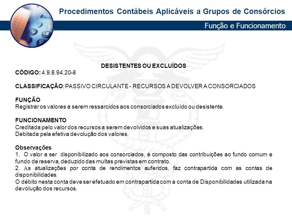 Procedimentos Contábeis Aplicáveis a Grupos de Consórcios DESISTENTES OU EXCLUÍDOS CÓDIGO: 4.9.8.94.20-8 CLASSIFICAÇÃO: PASSIVO CIRCULANTE - RECURSOS