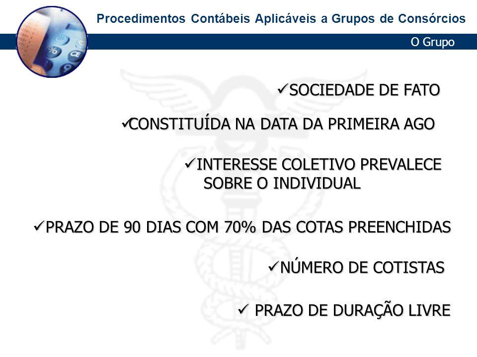 Procedimentos Contábeis Aplicáveis a Grupos de Consórcios Constituição dos Grupos CRIAÇÃO DE PARÂMETROS DO GRUPO CRIAÇÃO DE PARÂMETROS DO GRUPO VENDAS DAS COTAS VENDAS DAS COTAS Formas de aderir a um grupo Formas de aderir a um grupo Contrato Contrato contrato plurilateral Grupo AdministradoraConsorciado - Grupo em Formação (taxa de adesão + 1º prestação) - Grupo já Formado -Reposição de Cota (taxa de adesão + prestação do mês) -Transferência de Cota (taxa de serviço)