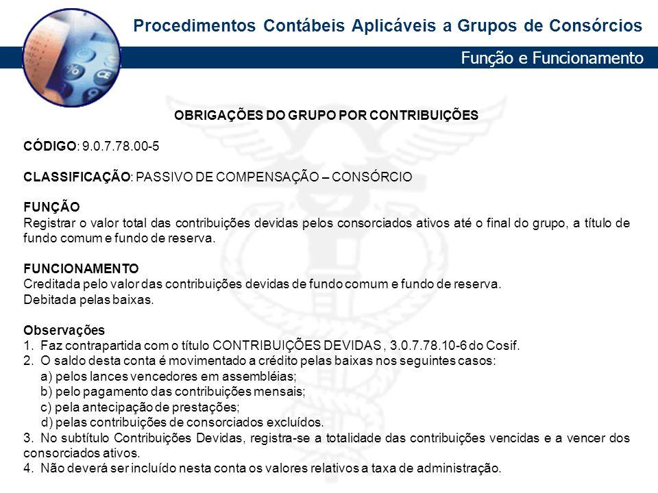Procedimentos Contábeis Aplicáveis a Grupos de Consórcios OBRIGAÇÕES DO GRUPO POR CONTRIBUIÇÕES CÓDIGO: 9.0.7.78.00-5 CLASSIFICAÇÃO: PASSIVO DE COMPEN