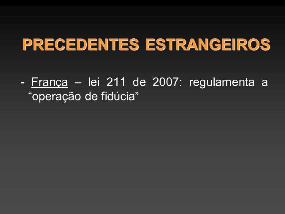 - França – lei 211 de 2007: regulamenta a operação de fidúcia PRECEDENTES ESTRANGEIROS