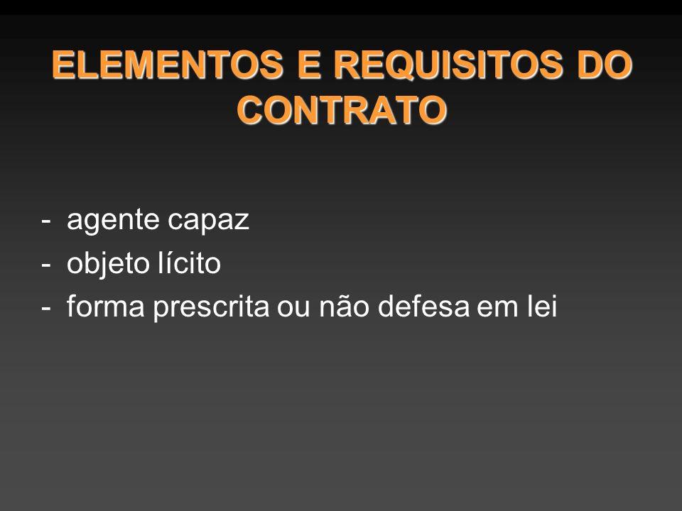 ELEMENTOS E REQUISITOS DO CONTRATO -agente capaz -objeto lícito -forma prescrita ou não defesa em lei