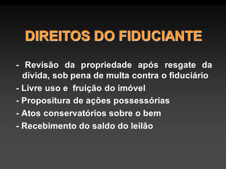 DIREITOS DO FIDUCIANTE - Revisão da propriedade após resgate da dívida, sob pena de multa contra o fiduciário - Livre uso e fruição do imóvel - Propos