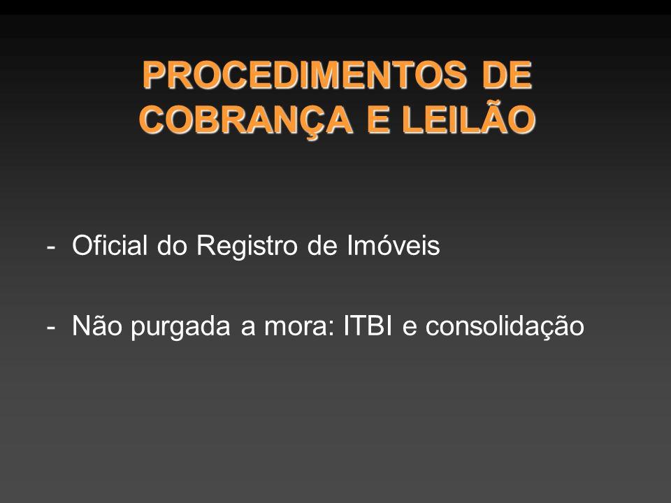 PROCEDIMENTOS DE COBRANÇA E LEILÃO -Oficial do Registro de Imóveis -Não purgada a mora: ITBI e consolidação