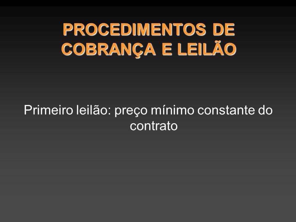 PROCEDIMENTOS DE COBRANÇA E LEILÃO Primeiro leilão: preço mínimo constante do contrato
