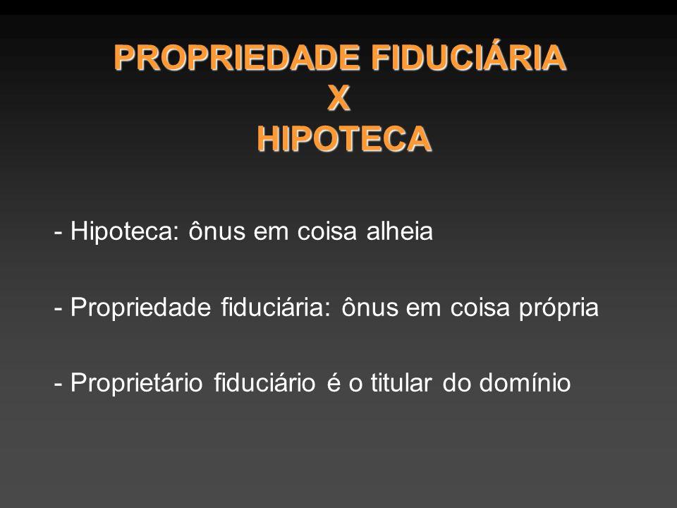 PROPRIEDADE FIDUCIÁRIA X HIPOTECA - Hipoteca: ônus em coisa alheia - Propriedade fiduciária: ônus em coisa própria - Proprietário fiduciário é o titular do domínio