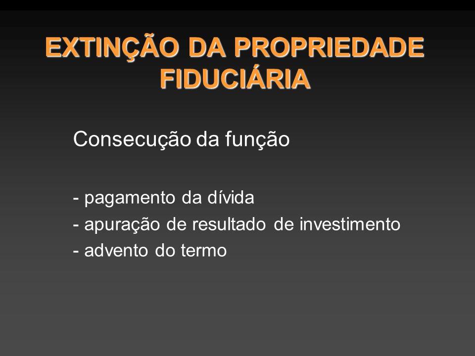 EXTINÇÃO DA PROPRIEDADE FIDUCIÁRIA Consecução da função - pagamento da dívida - apuração de resultado de investimento - advento do termo