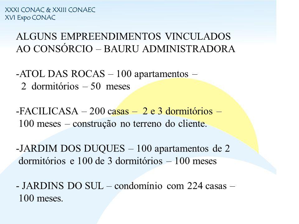 ALGUNS EMPREENDIMENTOS VINCULADOS AO CONSÓRCIO – BAURU ADMINISTRADORA -ATOL DAS ROCAS – 100 apartamentos – 2 dormitórios – 50 meses -FACILICASA – 200