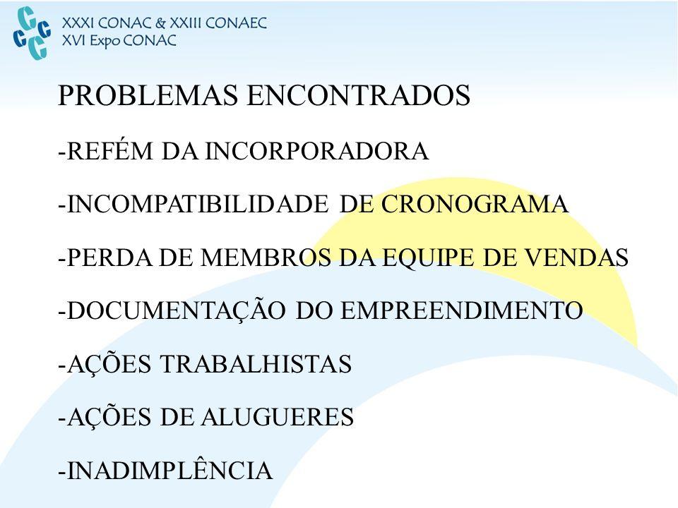 PROBLEMAS ENCONTRADOS -REFÉM DA INCORPORADORA -INCOMPATIBILIDADE DE CRONOGRAMA -PERDA DE MEMBROS DA EQUIPE DE VENDAS -DOCUMENTAÇÃO DO EMPREENDIMENTO -
