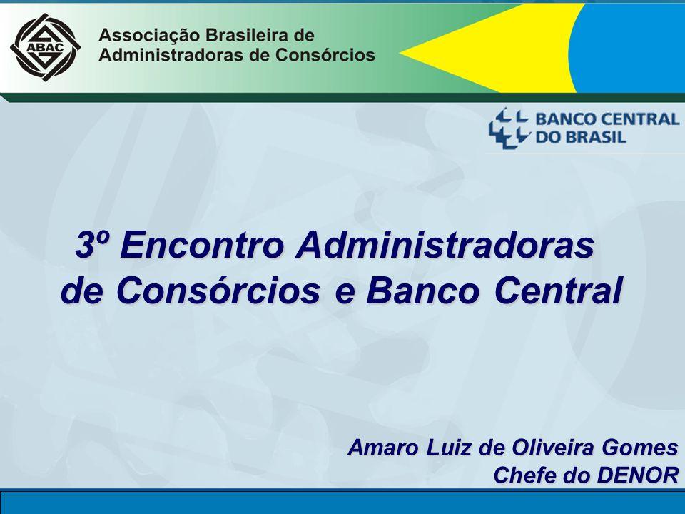 DINOR CONSÓRCIO Diretoria de Normas e Organização do Sistema Financeiro 3º Encontro Administradoras de Consórcios e Banco Central Amaro Luiz de Oliveira Gomes Amaro Luiz de Oliveira Gomes Chefe do DENOR