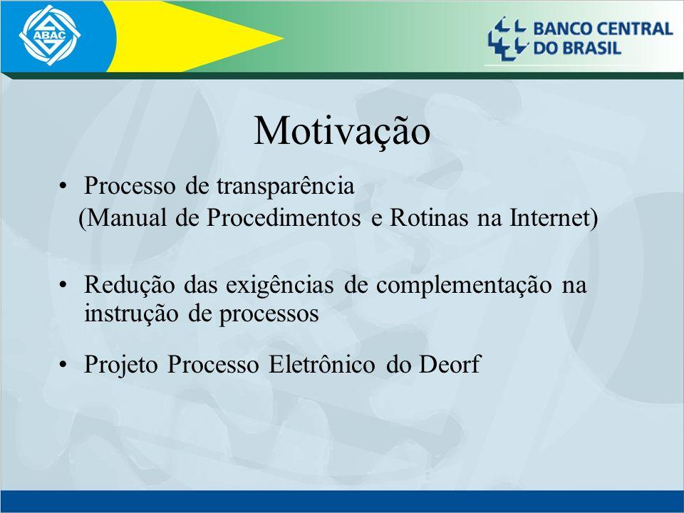 Motivação Processo de transparência (Manual de Procedimentos e Rotinas na Internet) Redução das exigências de complementação na instrução de processos