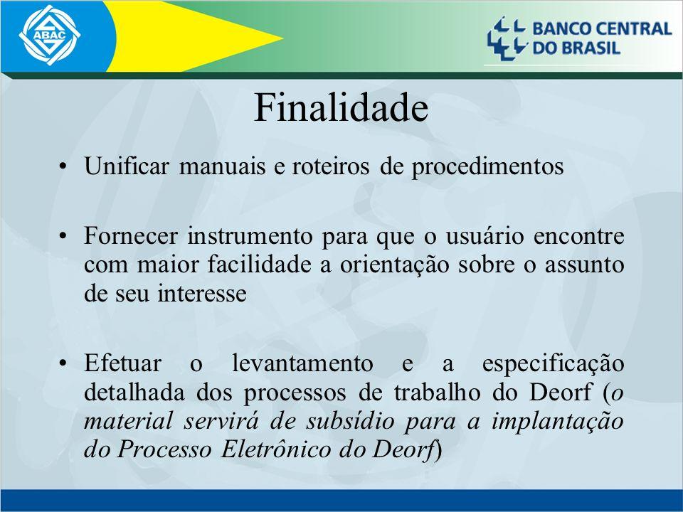 Finalidade Unificar manuais e roteiros de procedimentos Fornecer instrumento para que o usuário encontre com maior facilidade a orientação sobre o ass