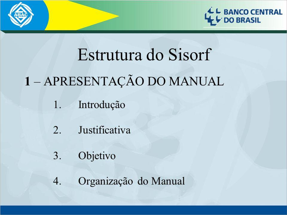Estrutura do Sisorf 1 – APRESENTAÇÃO DO MANUAL 1. Introdução 2. Justificativa 3. Objetivo 4. Organização do Manual