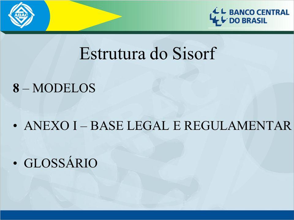 Estrutura do Sisorf 8 – MODELOS ANEXO I – BASE LEGAL E REGULAMENTAR GLOSSÁRIO