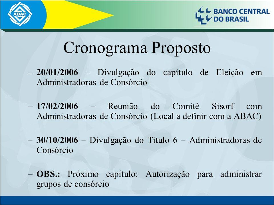 Cronograma Proposto –20/01/2006 – Divulgação do capítulo de Eleição em Administradoras de Consórcio –17/02/2006 – Reunião do Comitê Sisorf com Adminis