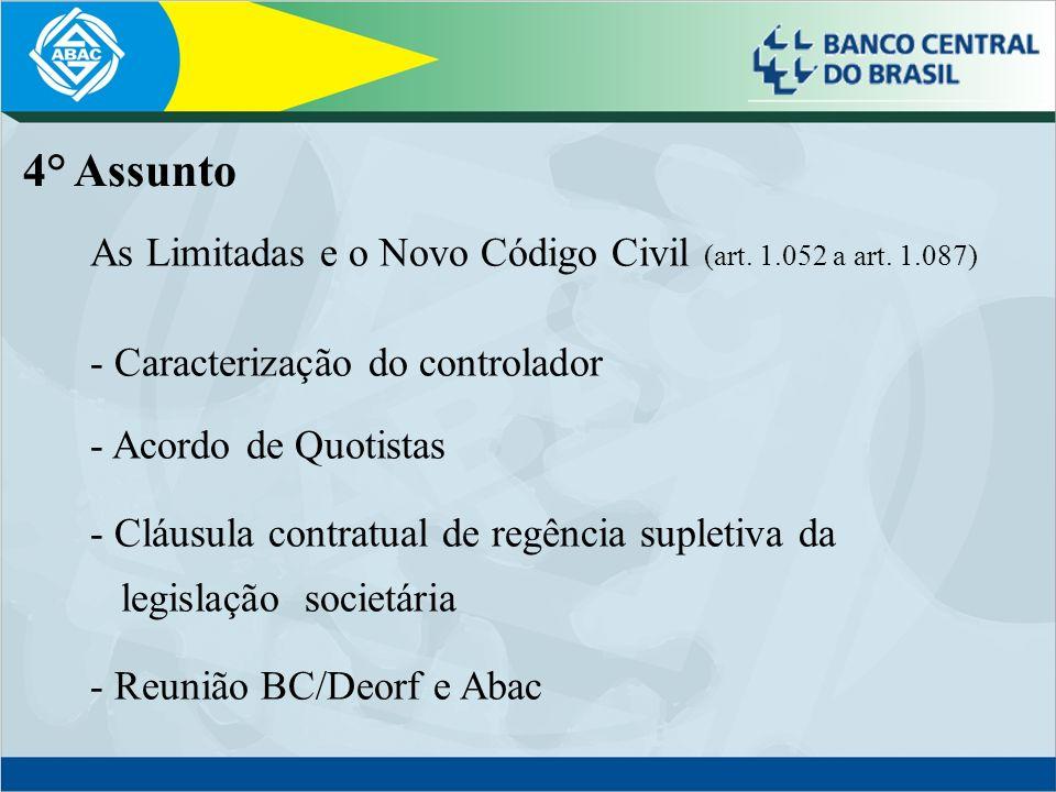 As Limitadas e o Novo Código Civil (art. 1.052 a art. 1.087) - Caracterização do controlador - Acordo de Quotistas - Cláusula contratual de regência s