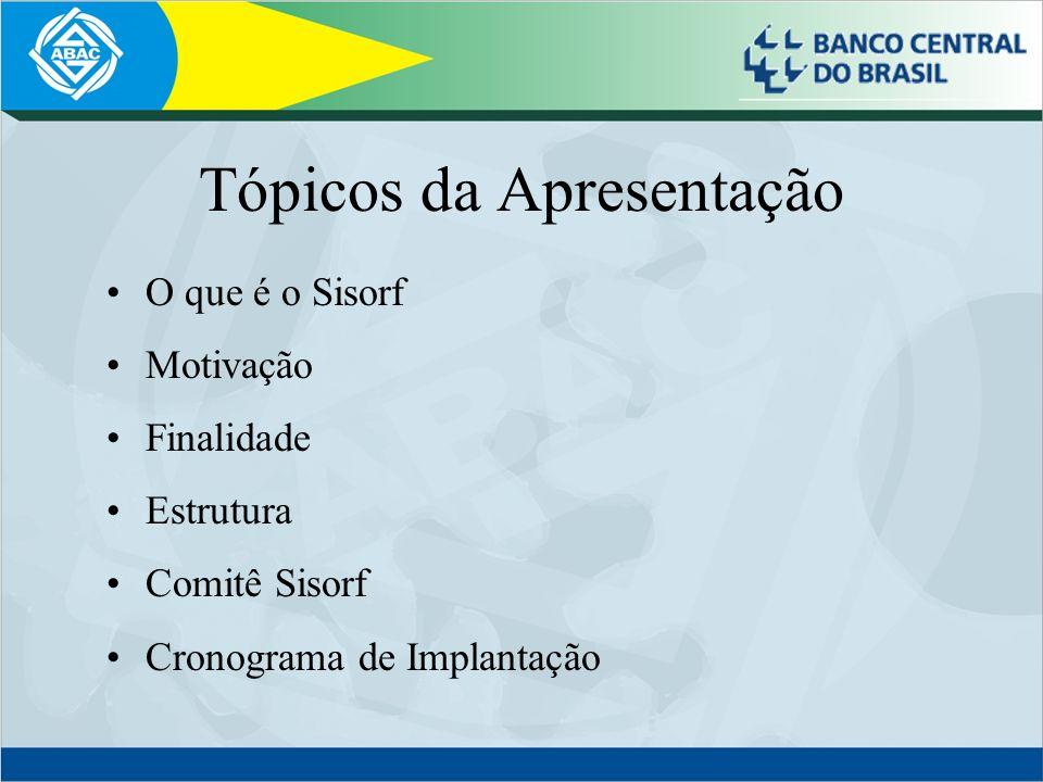 Tópicos da Apresentação O que é o Sisorf Motivação Finalidade Estrutura Comitê Sisorf Cronograma de Implantação