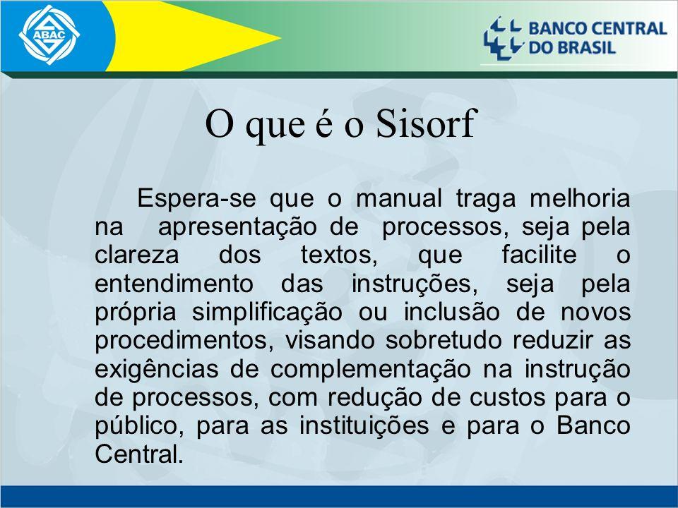 O que é o Sisorf Espera-se que o manual traga melhoria na apresentação de processos, seja pela clareza dos textos, que facilite o entendimento das ins