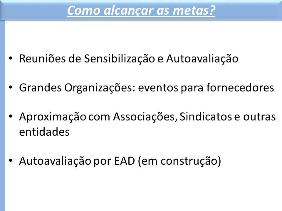 Reuniões de Sensibilização e Autoavaliação Grandes Organizações: eventos para fornecedores Aproximação com Associações, Sindicatos e outras entidades