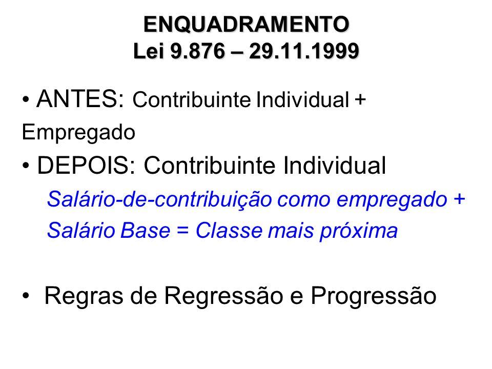 ESCALA DE SALÁRIO-BASE CONTRIBUINTE INDIVIDUAL E FACULTATIVO INSCRITOS ATÉ 28.11.1999 CLASSENº MESES SALÁRIO-BASECONTRIBUIÇÃO 1 a 612200,00 a 936,9440