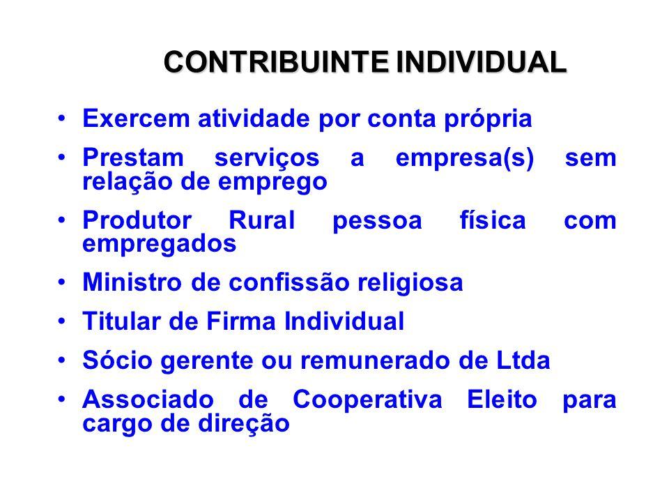 INSCRIÇÃO Empregado doméstico Contribuinte individual Facultativo Segurado Especial Número de Identificação do Trabalhador NIT PIS/PASEP
