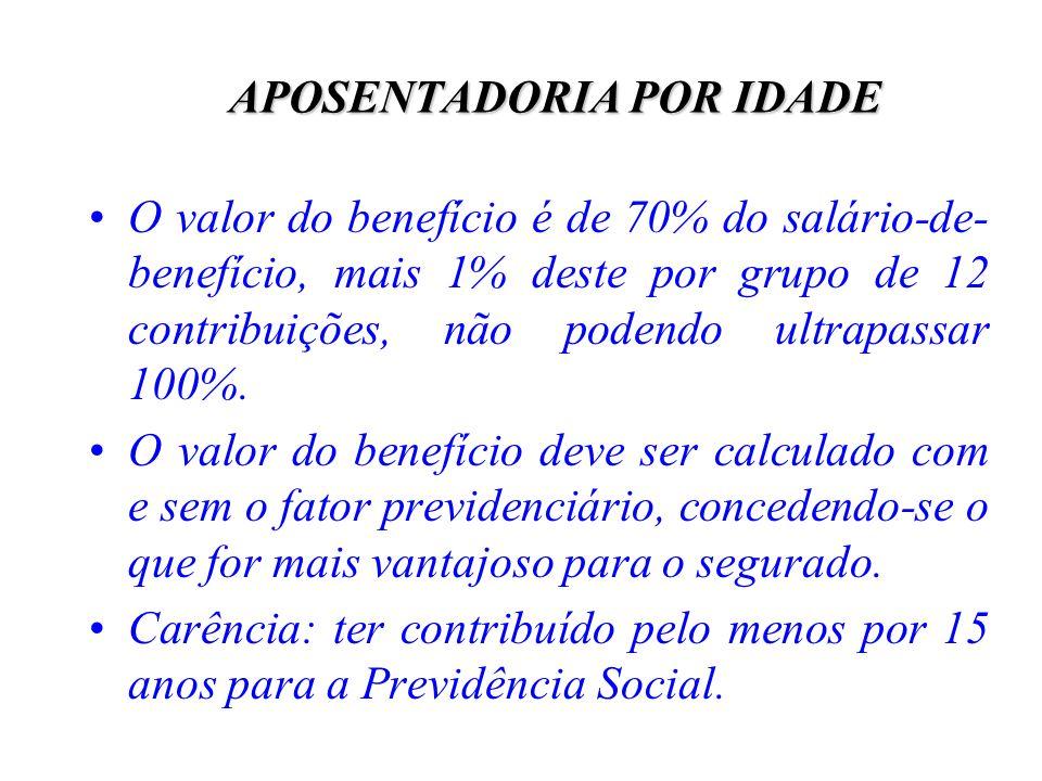 APOSENTADORIA POR IDADE O valor do benefício é de 70% do salário-de- benefício, mais 1% deste por grupo de 12 contribuições, não podendo ultrapassar 1