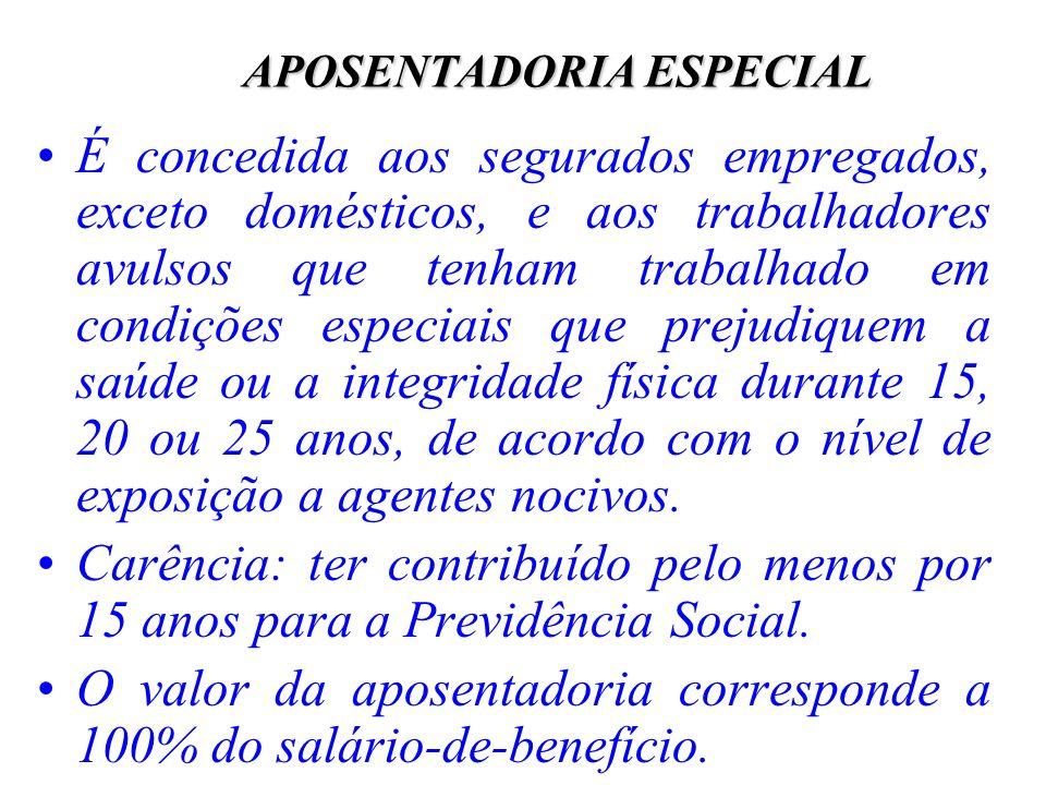 APOSENTADORIA ESPECIAL É concedida aos segurados empregados, exceto domésticos, e aos trabalhadores avulsos que tenham trabalhado em condições especia