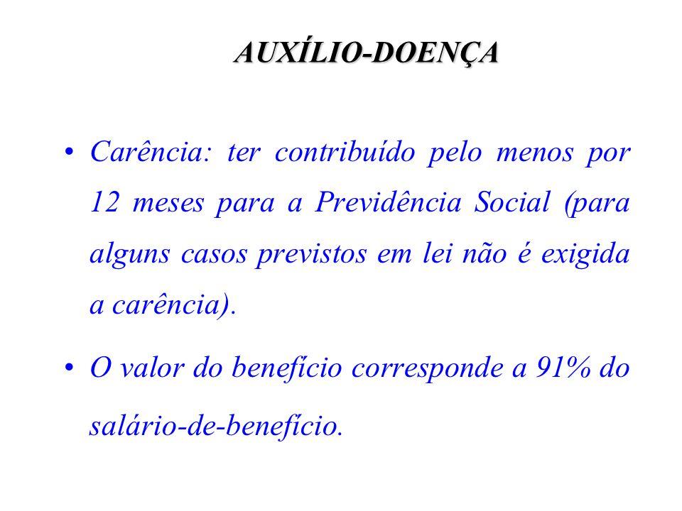 AUXÍLIO-DOENÇA Carência: ter contribuído pelo menos por 12 meses para a Previdência Social (para alguns casos previstos em lei não é exigida a carênci