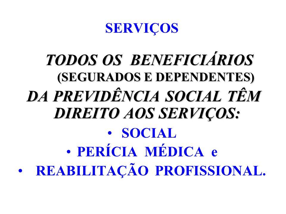 SERVIÇOS TODOS OS BENEFICIÁRIOS (SEGURADOS E DEPENDENTES) (SEGURADOS E DEPENDENTES) DA PREVIDÊNCIA SOCIAL TÊM DIREITO AOS SERVIÇOS: DA PREVIDÊNCIA SOC