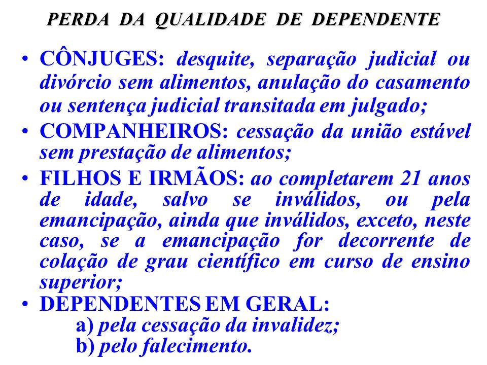 PERDA DA QUALIDADE DE DEPENDENTE CÔNJUGES: desquite, separação judicial ou divórcio sem alimentos, anulação do casamento ou sentença judicial transita