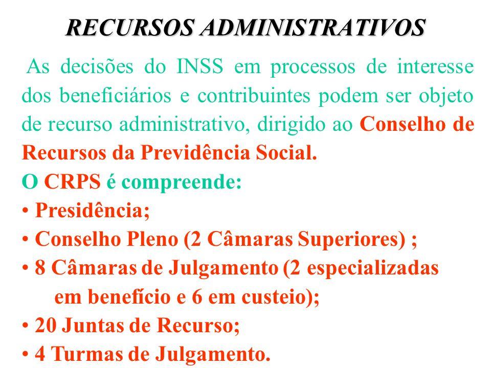 RECURSOS ADMINISTRATIVOS As decisões do INSS em processos de interesse dos beneficiários e contribuintes podem ser objeto de recurso administrativo, d