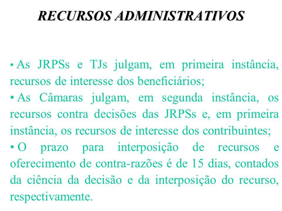 RECURSOS ADMINISTRATIVOS As JRPSs e TJs julgam, em primeira instância, recursos de interesse dos beneficiários; As Câmaras julgam, em segunda instânci