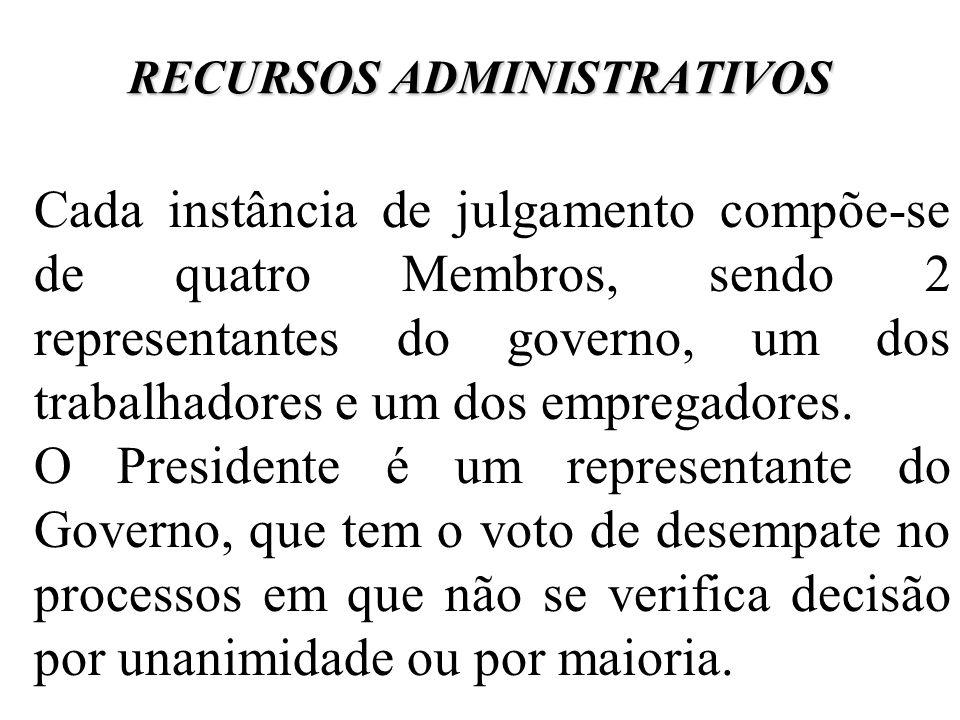 RECURSOS ADMINISTRATIVOS Cada instância de julgamento compõe-se de quatro Membros, sendo 2 representantes do governo, um dos trabalhadores e um dos em