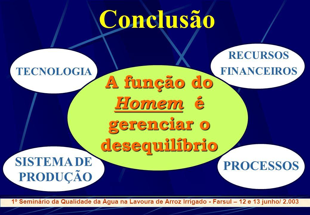 Conclusão SISTEMA DE PRODUÇÃO TECNOLOGIA PROCESSOS RECURSOS FINANCEIROS A função do Homem é gerenciar o desequilíbrio 1º Seminário da Qualidade da Águ